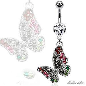 Bauchnabelpiercing Silber Stecker Schmetterling Anhänger Kristalle Weiss Bunt