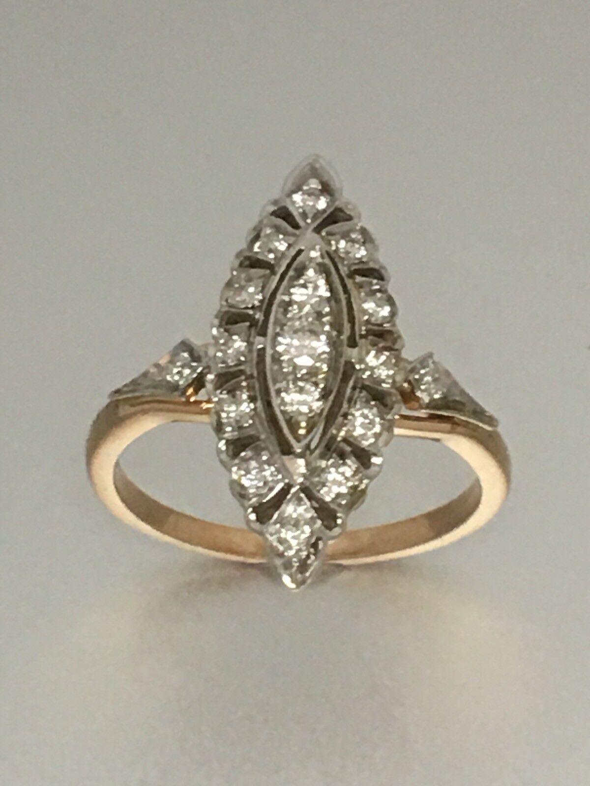 14 K RING 0.30 Pt DIAMOND SIZE 7 3.80 GRAM