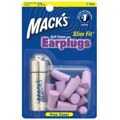 Macks Slim Fit Soft Foam Earplugs x 7 Pairs Mack/'s Aluminium Carry Case