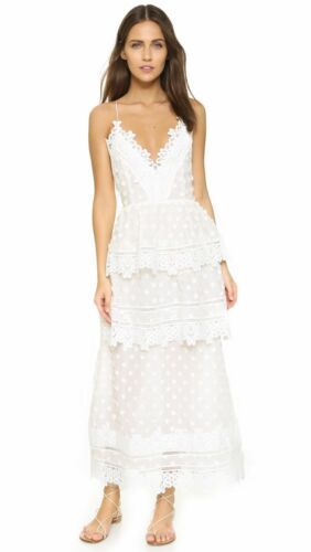 NWT Self Portrait Ivy Lace Trim Tiered Layered Midi Dress Open Back White Choose