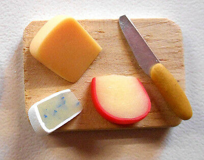 for Dollhouse 1//12 scale Miniature Oval Faux Marble Cheese Platter with Knife
