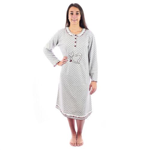 Camicia da notte donna  invernale in caldo cotone interlock felpatina 6DICAM19