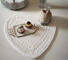 Deckchen Set Tischset Platzdeckchen Herz Grau Shabby Vintage Landhaus