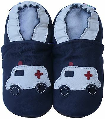 carozoo siren ambulance dark blue 6-12m soft sole leather baby shoes
