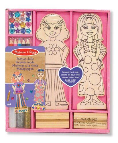 Melissa /& Doug Enfants En Bois Décorer votre propre Fashion Poupées Filles Craft Kit 4+