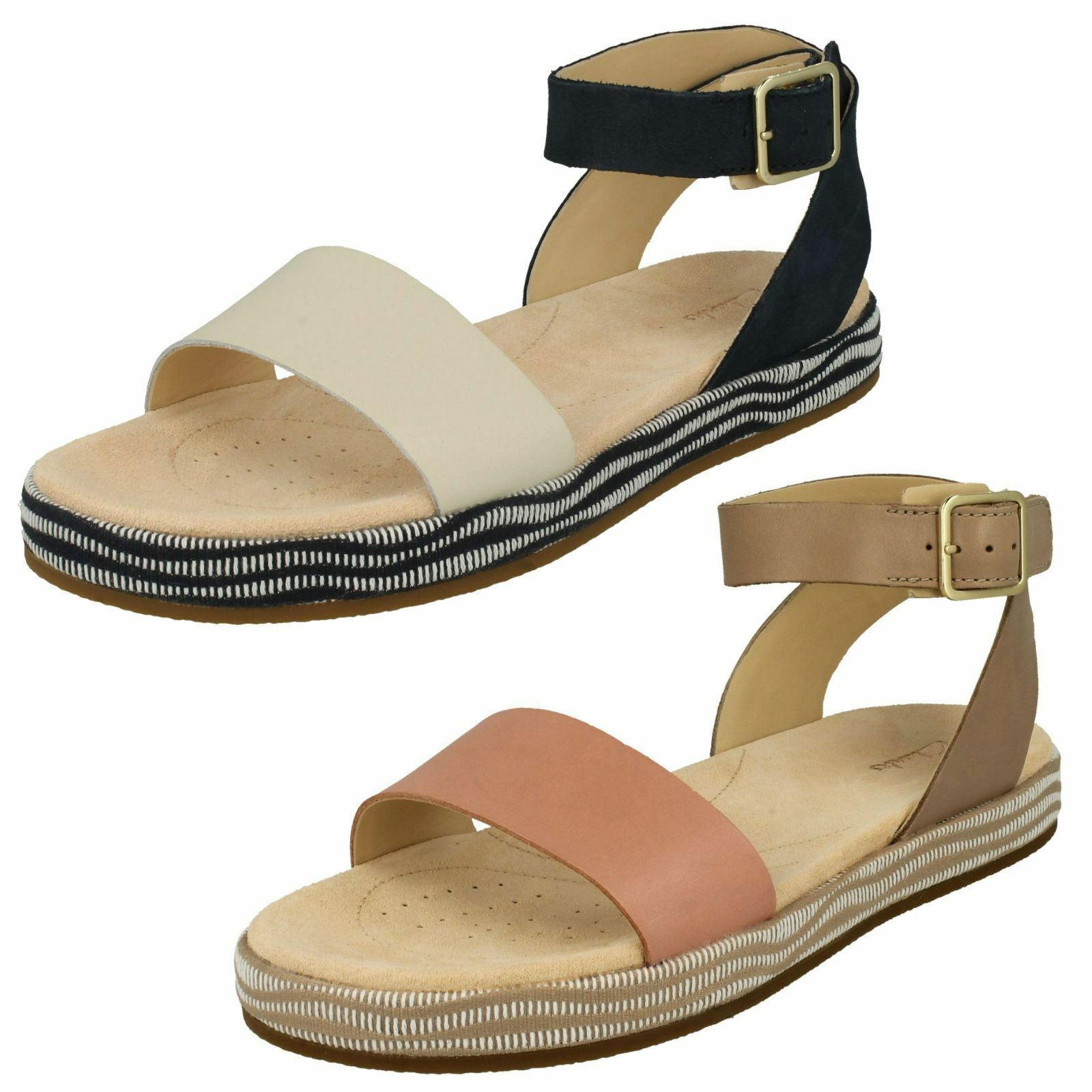 Ladies Clarks Botanic Ivy Casual Leather Sandals - D Fitting