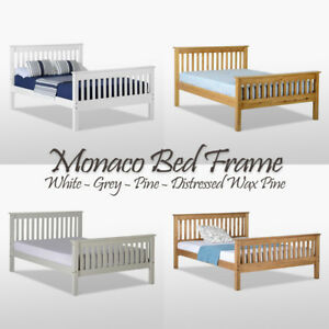 Details About Monaco Bed Frame High Foot End Pine Wood Headboard Double King Single Colours