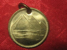 25MM EGYPTIAN EGYPT KING TUT GOLD VINTAGE PYRAMID COIN PENDANT CHARM NECKLACE