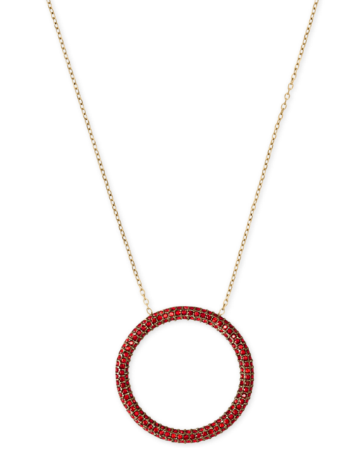 34c8d24ecb Michael Kors Mkj6156710 Gold-tone Red Crystal Pave Open Circle Pendant  Necklace