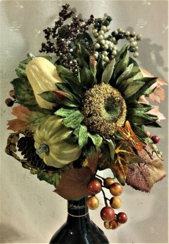 no vase NWT Autumn Fall Flower Pick//Arrangement-Green Sunflower /& Pumpkins