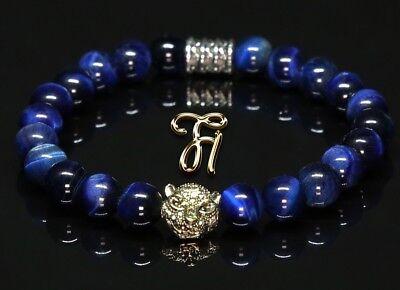 Ehrgeizig Tigerauge Blau - Goldfarbener Tigerkopf - Armband Bracelet Perlenarmband 8mm