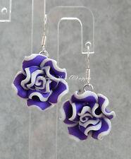 Pretty Handmade Fimo Rose Flower Purple White Edged Dangly/Drop Earrings UK