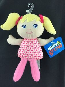 Sassy-Grin-amp-Grow-Soft-Doll-Blonde-Hair-Blue-Eyes-Rattle