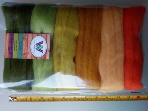 HARVEST SET pure laine mérinos Tops Roving pour feutrage orange vert jaune 60 g