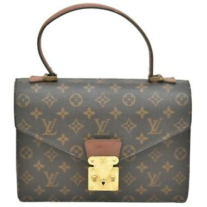 Authentic-Louis-Vuitton-Monogram-Satchel-Hand-Flap-Bag-Top-Handle-Concorde-Brown