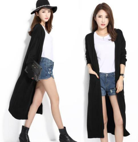 Womens full length cashmere blend cardigan thick long loose sweater coat outwear
