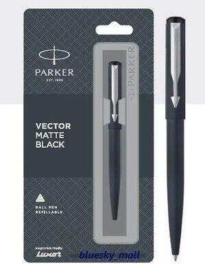Fine Nib Blue Ink Parker Vector Matte Black CT Chrome Trim Fountain Ink Pen