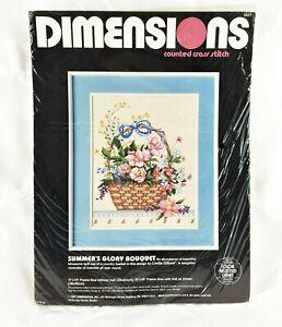 Dimensions-Cross-Stitch-Kit-SUMMER-039-S-GLORY-BOUQUET-Vtg-1987-14-Ct-Fabric