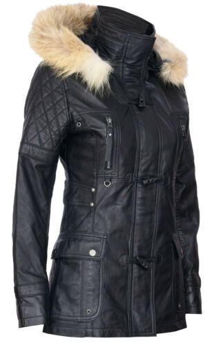 Women/'s Black Leather Parka Jacket Quilted Detachable Hooded Trench Jacket Coat