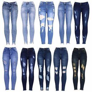 New-Womens-Blue-Knee-Cut-Distressed-Ankle-Grazer-Stretch-Skinny-Fit-Denim-Jean