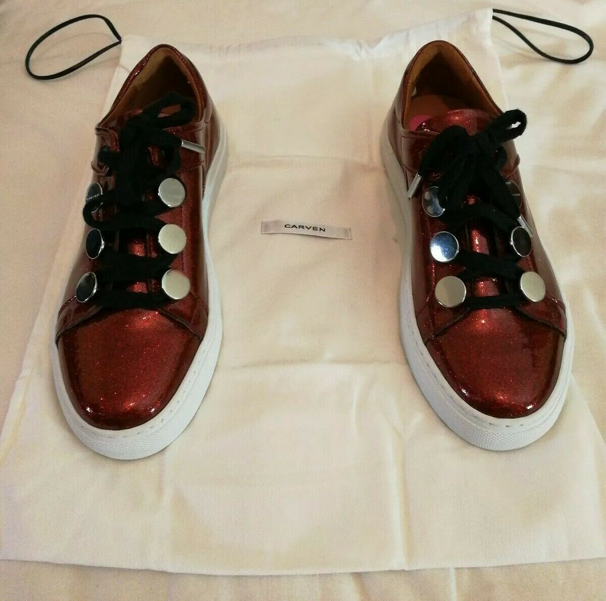 Carven Glitter Leather Low  Top scarpe da ginnastica Borgogna uk 5 eu 38  Sito ufficiale