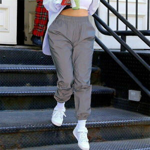 Fashion Flash Reflective Joggers Pants Women Casuals Solid Harem Trousers Pants