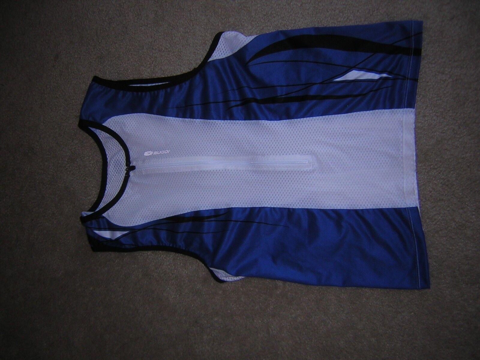 Sugoi Biking Cycling Jersey Women's Size Large Blue/White