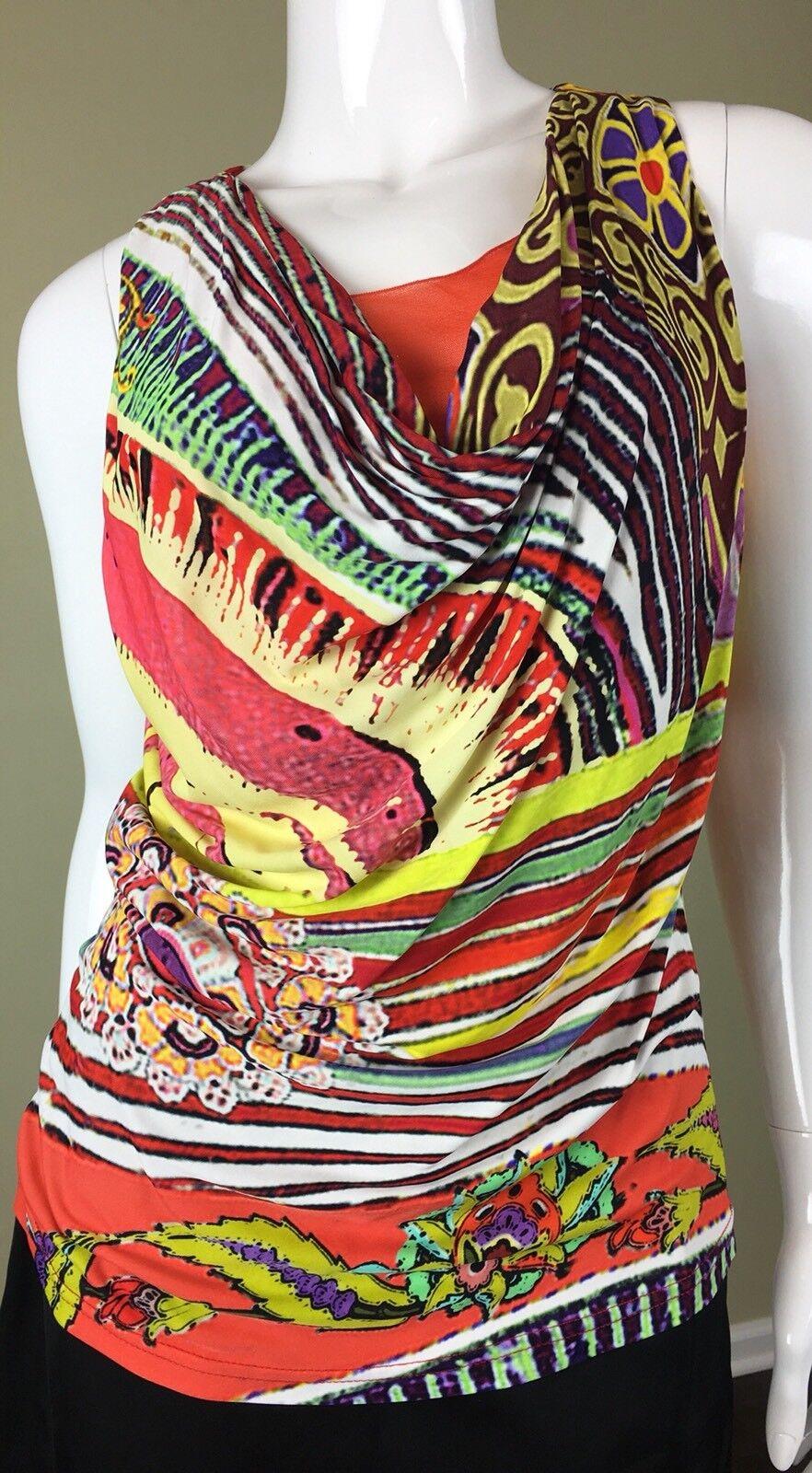 FUZZI orange Floral Print Sleeveless Top L, ITALY