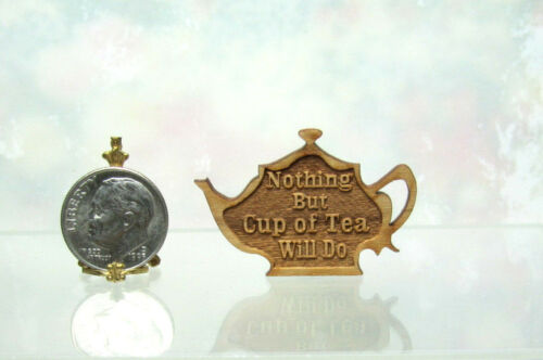 Dollhouse Miniature Teapot Shaped Wood Sign facing left