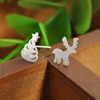 Women Silver Plated Earrings Cute Deer Christmas Tree Simple Ear Stud Jewelry