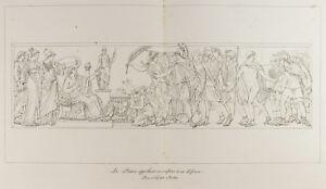 Grabado 1876: El Casa Invocación Sus Niños Para Su Défense. Revolución
