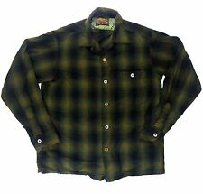 Vintage Forest Green Pendleton 1950's Flannel Shirt M / S -  Virgin Wool skate