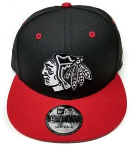 Chicago-Blackhawks-New-Era-9Fifty-2-Tone-Black-White-Snapback-Hat-Cap-Black-NHL