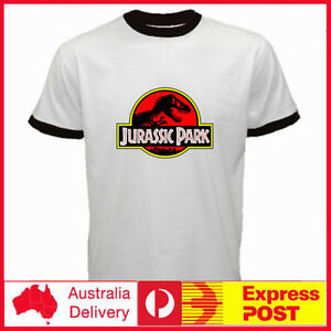 Jurassic-World-Movie-Jurassic-Park-Logo-Dinosaur-Ringer-T-Rex-Men-039-s-T-shirt-Tee