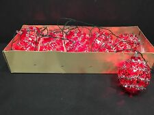 Vintage Italian Christmas 10 Miniature String Lights Red Beads