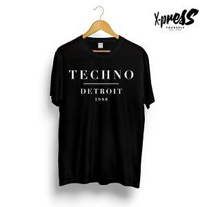 TECHNO DETROIT 1988 PRINTED GRAPHIC BLACK T-SHIRT UNDERGROUND MUSIC VIBES UNISEX