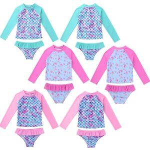Girls-Long-Sleeves-Tankini-Swimsuit-Swimwear-Rash-Guard-Beachwear-Bathing-Suit
