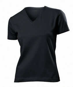 a49560e26c4 STEDMAN LADIES BLACK COTTON FITTED V-NECK T SHIRT SIZES S-XXL