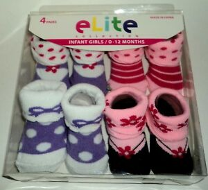 Strict Elite Collection 4 Pair Infant Baby Girl Socks/booties Size 0-12 Months Nib Set1 Baby & Toddler Clothing