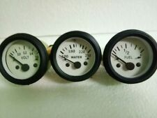 2 52mm Electrical Temp Volt Fuel Gauge White Face Black Bezel