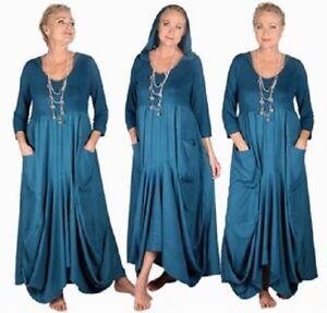 Hooded Maxi fatto elasticizzata Dress per Tasche W239 ordinare Lotustraders Jersey Carino dOwEqER