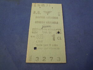 BILLET TRAIN COUVERTURE RIGIDE 71 SAVONA LETIMBRO GÊNES CEVA 1 CLASSE DP, C