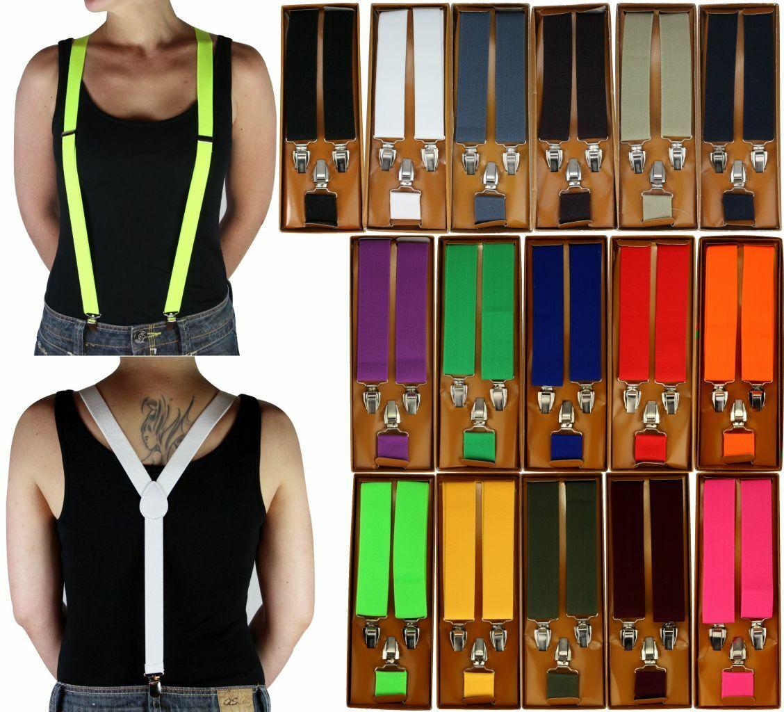 3 Clips Suspenders Ladies / Men's 35mm Wide Black Red Neon Green Yellow Orange