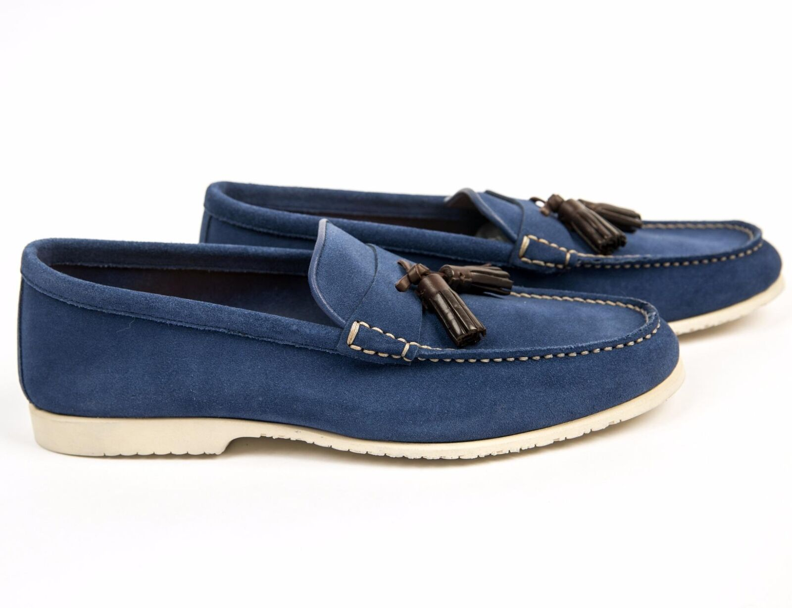 Tom Ford New 790 Suede Leather Blue Tassel Loafers Slip On Shoes FW18 9T 10 US