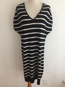 ca804eb2dc2 Calvin Klein Jeans V-Neck Tunic Shift Sweater Dress Black   White ...