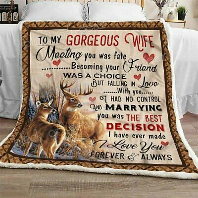 To My Wife I Don/'t Want Sofa Fleece Blanket Print In USA Deer