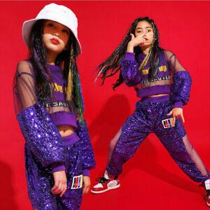 Children-Jazz-Hip-Hop-Dancewear-Kids-Dance-Girls-Sports-Sequin-Costumes-Show