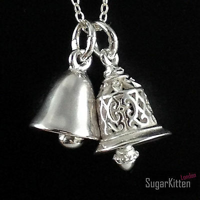 Handmade Solid 925 Sterling Silver Small Filigree Bell  Pendant Without Chain