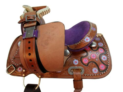 LEATHER WESTERN PONY HORSE SADDLE STUDDED CARVED PURPLE COWGIRL FLORAL TACK SET