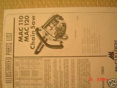 mac 120 parts list McCulloch  mac 110